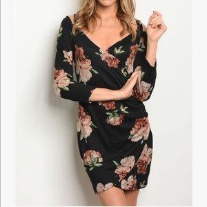 Dresses & Skirts - Black Floral Dress With Open Shoulder Detail